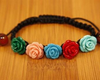 Multiple Color Rose Floral Shamballa Bracelet FREE SHIPPING USA