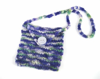 SALE My Big Button Little Purple Purse - Hand Knit Handspun Thick and Thin Wool Easter Gift Girl