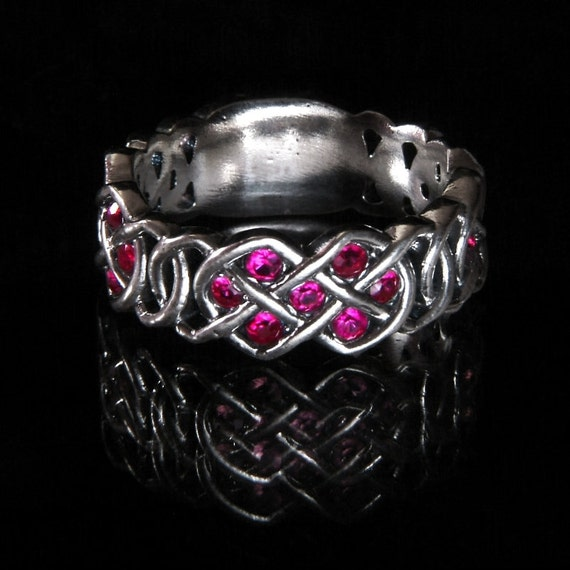Celtic Ruby Ring With Infinity Knot Design in Sterling Silver, Made in Your Size CR-769