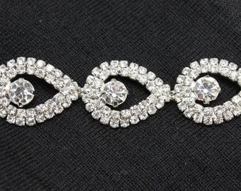 LG-454 wedding bridal gown teardrop rhinestone crystal silver chain trimming 1 yd