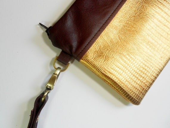 Wristlet or clutch, metallic and brown leather.    Free Shipping.