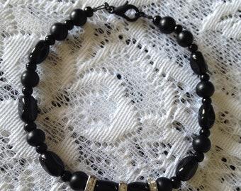 Black Beaded Jeweled Bracelet