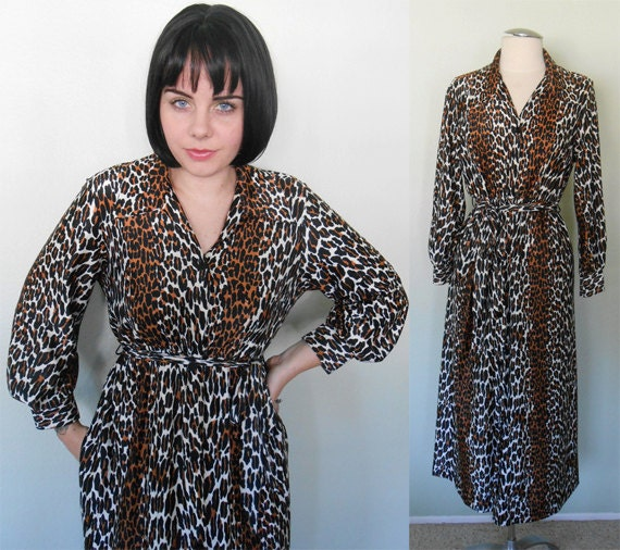 ON HOLD for M. Patrick/Vintage 1960's Dress/ Maxi Dress/ Leopard/ Loungewear/ Butterfield 8/ Large