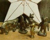 Small Vintage Brass Animal Gang - Bear, Squirrel, Wolf, Bull and Duck