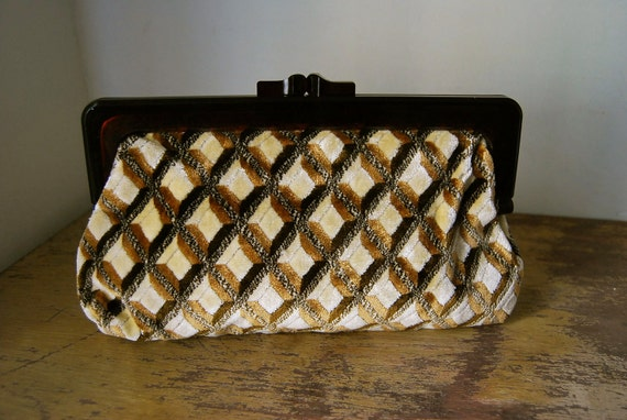 Brown and Gold Crosshatch Carpet Clutch, 1970s