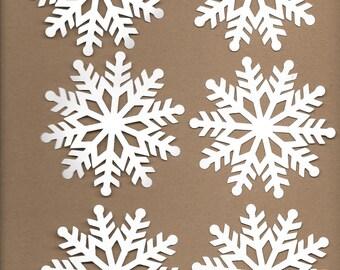 6- 3.5 inch White Snowflakes Cricut Die Cut