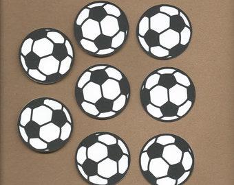 8- 2 inch Black and White Soccer Balls Cricut Die Cut