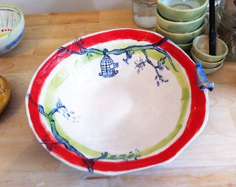 Bird Salad serving bowl- Handmade, handpainted