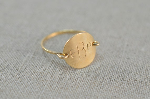 Personalized Custom Initial Letter Monogram Stamped Round Circle Disk Charm Signet Gold or Silver Menswear Ring Jewelry Christmas Gift