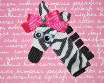 "NEW ""ZEBRA"" Girls Ribbon Sculpture Hairbow Clip Bow Boutique Zoo Jungle Safari Summer"