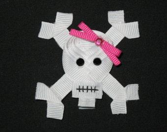 "NEW ""SKULL & CROSSBONES"" Girls Ribbon Hairbow Clip Bow Sculpture Clippie Punk Rock"