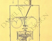 Kinetographic Camera invention patent by Thomas Edison, vintage steampunk print from the U.S. Patent Office, measures 7.5 x 10 in.