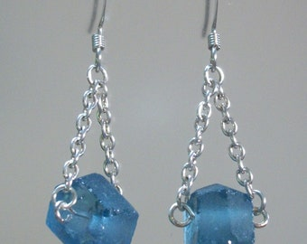 Blue Fair Trade Chain Earrings