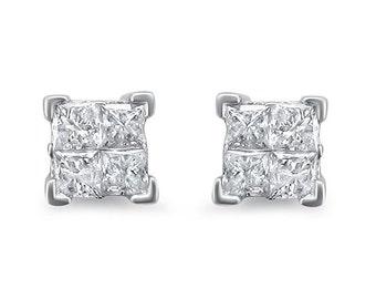 14k White Gold Princess-cut Diamond Invisible-Set Stud Earrings (1/2 cttw, I-J, I2-I3)