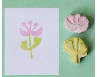 Flower Hand Carved Rubber Stamp, set of 2 - stem handmade rubber stamp, plant handcarved rubber stamp, hand carved stamp, handmade stamp