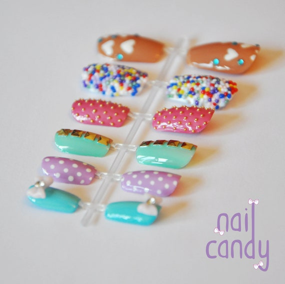 Hand Painted Mix and Match Girly Candy Nails with Acrylic Bow, Hundreds and Thousands Caviar Beads, Studs and Gems.