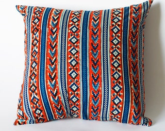 SALE: Red, Blue, Tribal Decorative Toss Pillow