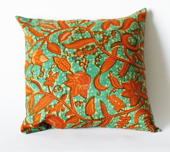 SALE: Orange Throw Pillow African Wax Print 18 x 18 Square