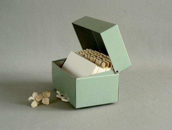 Sage Green Metal File Box