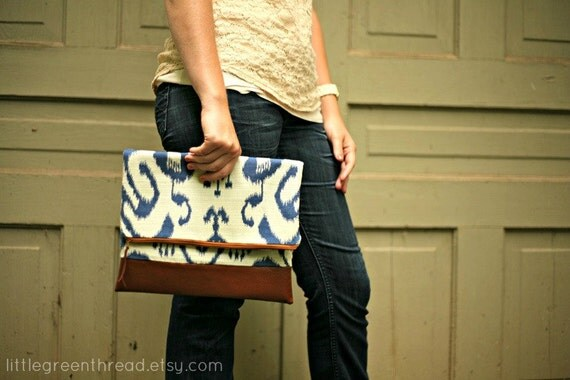 Fold Over Clutch in Blue & White Ikat