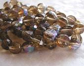 12 Sparkling Smoke Topaz Czech Glass Beads