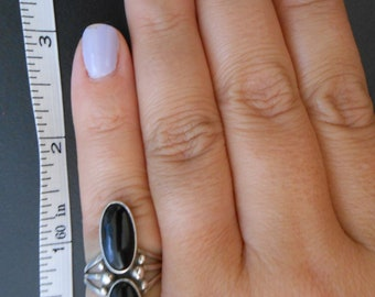 Southwest Onyx & Silver Ring