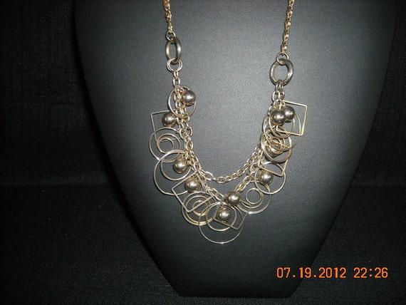vintage funky goldtone choker  necklace...no4
