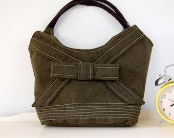 Dark Green Purse, Eco Bag, Tote - Boxing Day Sale