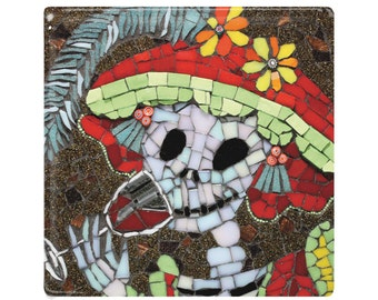 Day of the Dead Ceramic Tile / Coaster - Lucia is Dead - Skeleton Drinking - Mexican Folk Art  - Hat with Feather