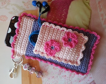 """Pink and Blue Dolled Up """"Bloomer"""" Crochet Case with Beaded Keychain for iPhone, Camera, Smart Phone, MP3 Player"""