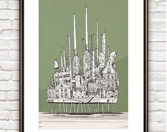The Old Refinary I, Surrealism, architectural Drawing, Architecture sketch