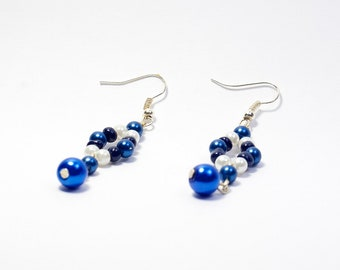 Ice Queens Castle - Blue & White Bead Dangle Earrings