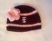 Baby Girl Football Hat with Flower