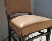 Leather Desk Chair with Brass Nailhead Detail