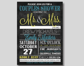 Chalkboard Typography Bridal Wedding Couples Shower Invitation - Custom DIY Printable