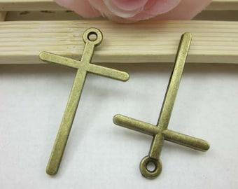 10pcs Cross Charms, 30x48mm Antique Brass Vintage Large Cross Charm Pendants