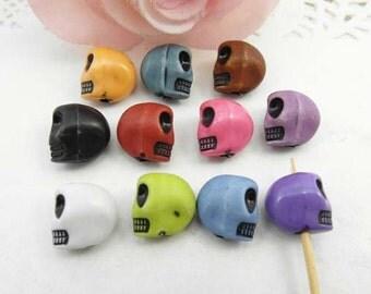 20pcs 13mm Multicolor Skull Beads, Resin Skull Beads, Day Of The Dead, Sugar Skulls, Skull Charms Plastic Beads
