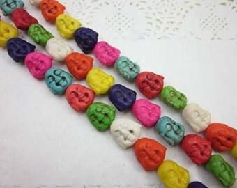 15pcs Full Strand Buddah Beads, Howlite, 20mm, Mix Color, Buddah Head Beads, Laughing Buddah