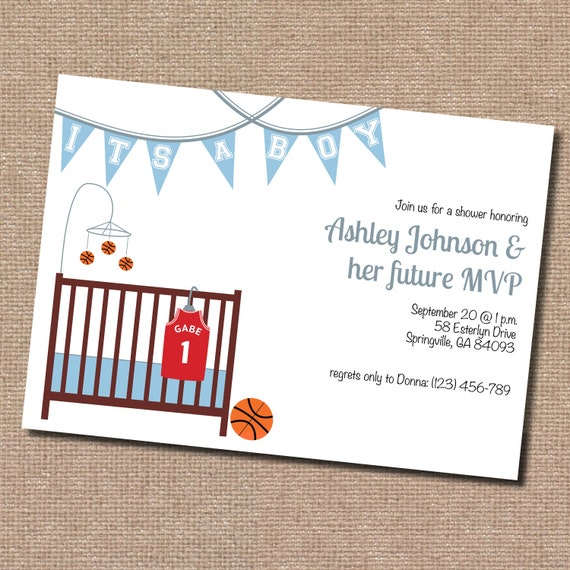 Basketball Baby Shower Invitation (Digital File only... printing available)