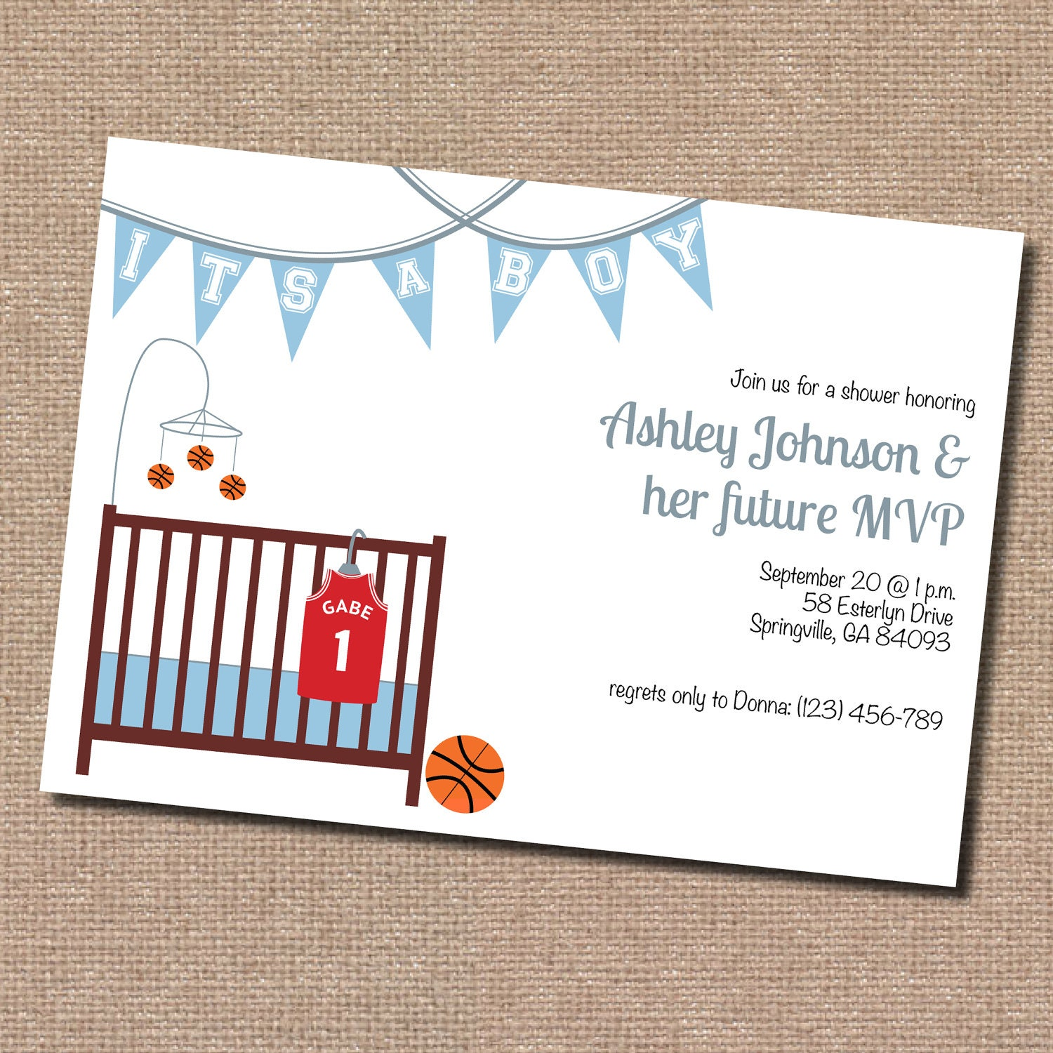 basketball baby shower invitation digital file by dormineydesigns