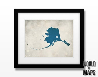 Alaska Map Print - Home Town Love - Personalized Art Print