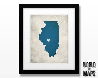 Illinois Map Print - Home Town Love - Personalized Art Print