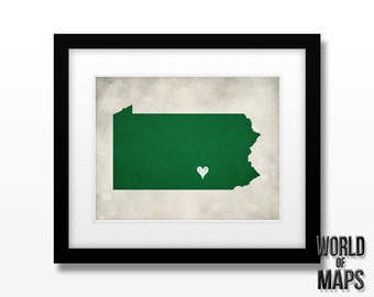 Pennsylvania Map Print - Home Town Love - Personalized Art Print