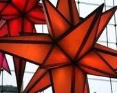 Orange Christmas Stars, Columbus Circle, New York City Photography