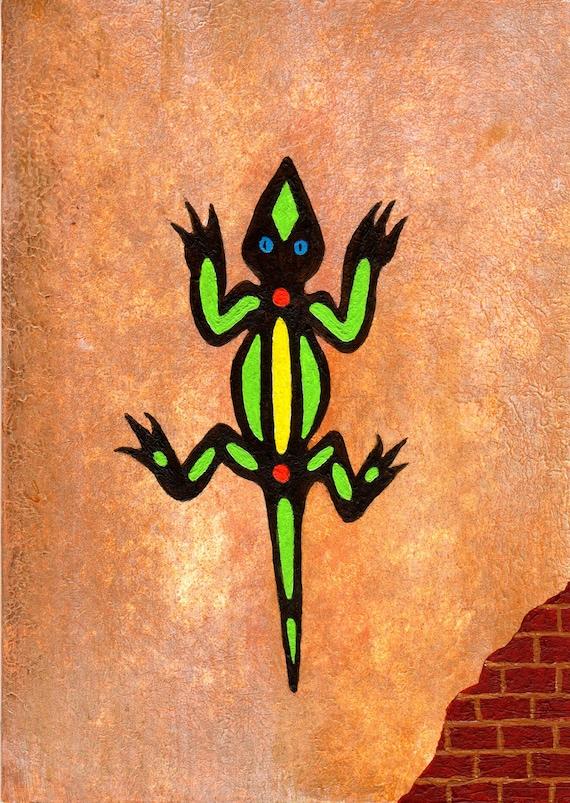 Lizard On The Wall Southwestern Art Etsy