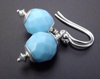 Sterling Silver Earrings with Powder Blue Opal Czech Glass Beads