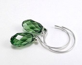 Sterling Silver Tiny Green Swarovski Crystal Briolette Earrings