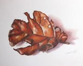 "Original Fig Leaf Painting 12"" x 9"""