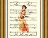 Pinup Art Sheet Music Art, Sexy Ukulele Art Print, Upcycled Pin Up Music Art