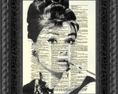Breakfast at Tiffany's Audrey Hepburn As Holly Golightly, Art Print, Dictionary Art, Book Art, Wall Decor, Wall Art, Mixed Media Collage